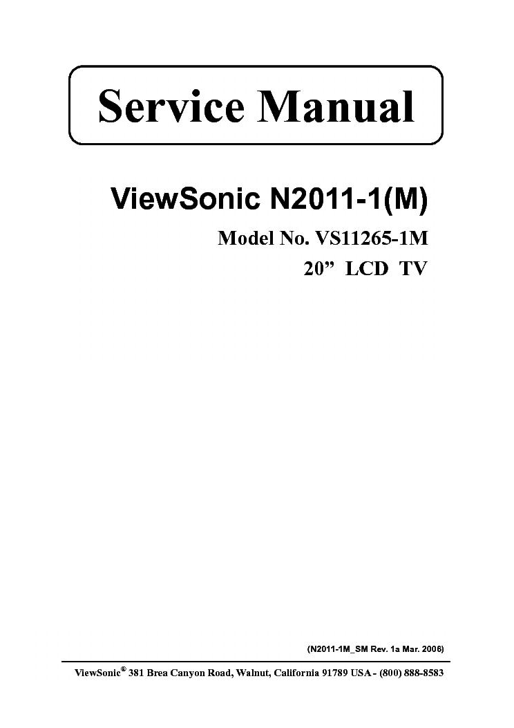 VIEWSONIC N2011-1-M VS11265-1M Service Manual download