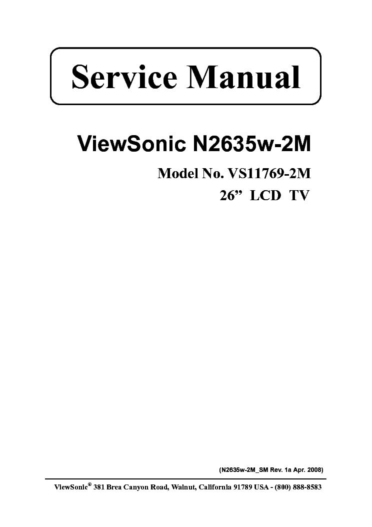 VIEWSONIC N2635W-2-M VS11769-2M Service Manual download