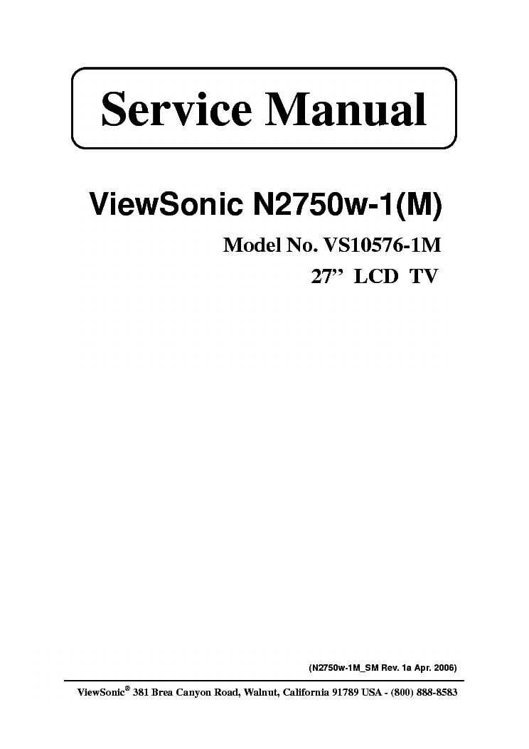 VIEWSONIC N-3260W 3760W 4060W SM Service Manual free