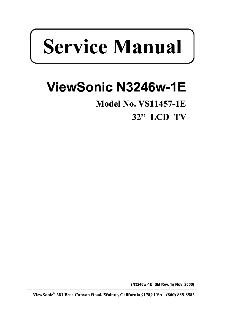 VIEWSONIC N3260W MC0628R POWER Service Manual free