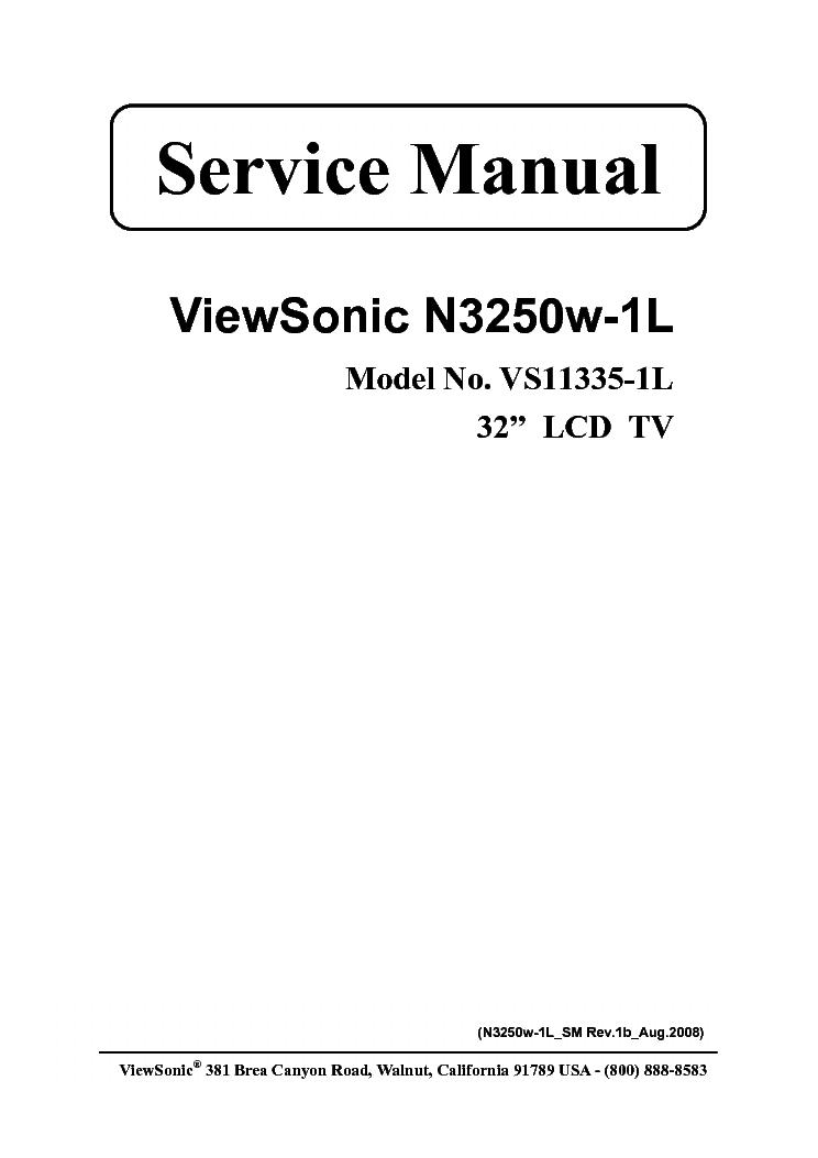 VIEWSONIC N3250W-1L VS11335-1L SM Service Manual download