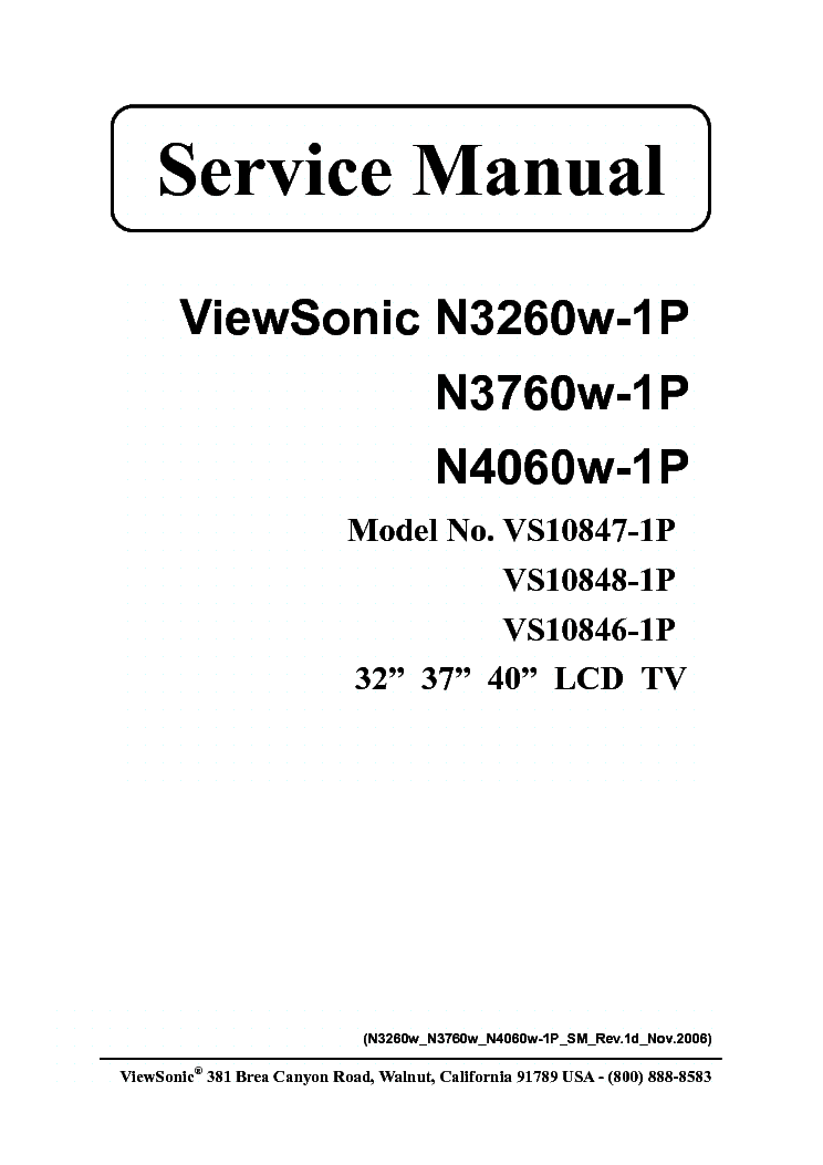 VIEWSONIC N-3260W 3760W 4060W SM Service Manual download