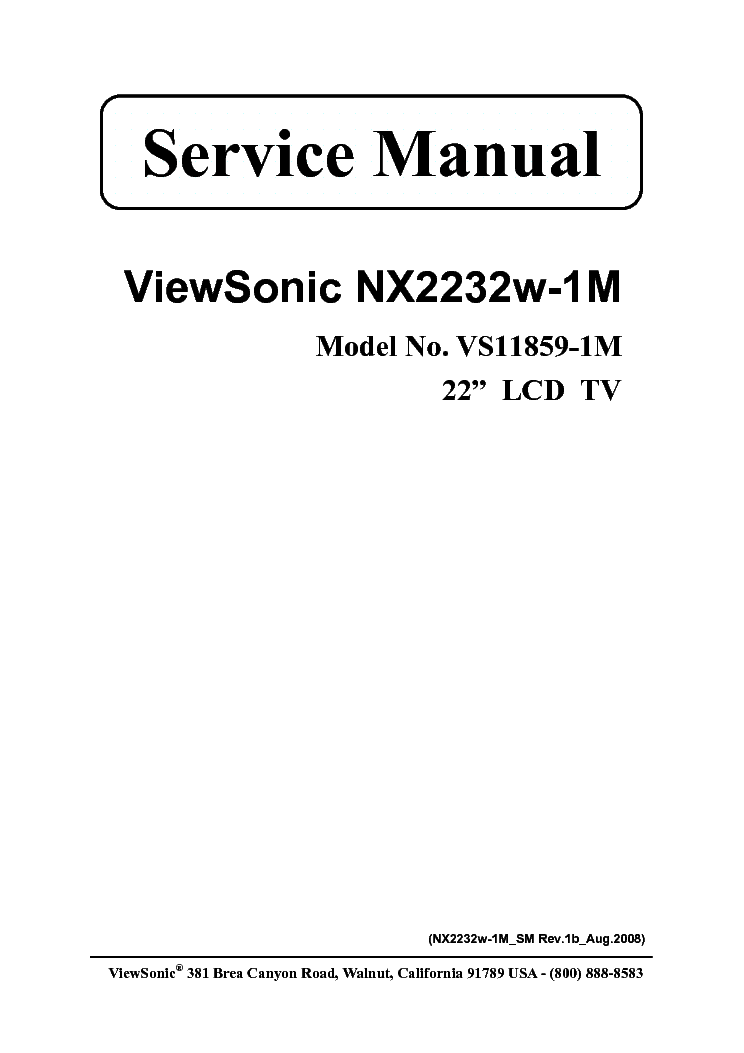 VIEWSONIC NX2232W-1M VS11859-1M Service Manual free