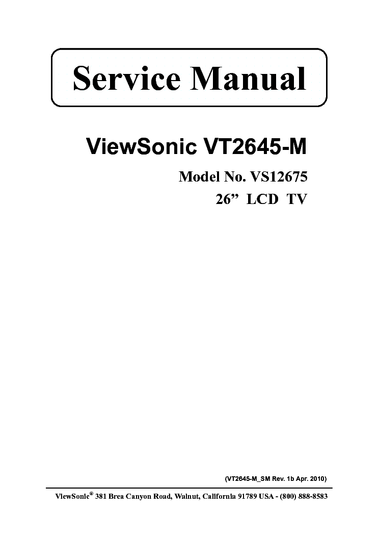 VIEWSONIC N3260W MC0628R POWER Service Manual free