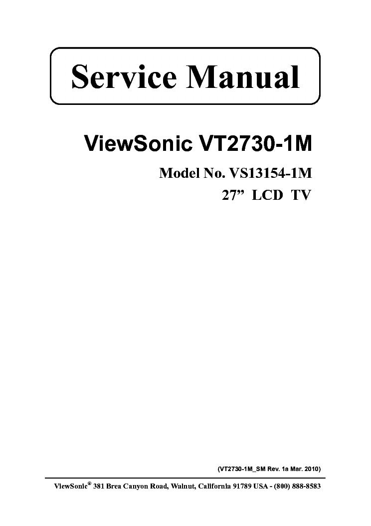 VIEWSONIC VT2730-1M VS13154-1M Service Manual download