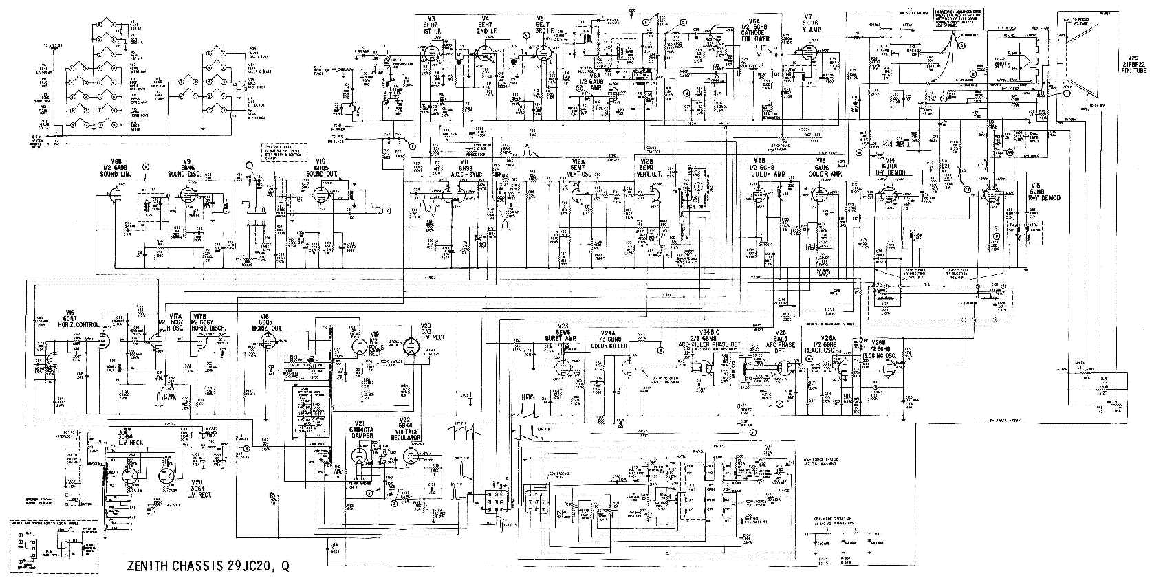ZENITH 29JC20 SCH Service Manual download, schematics
