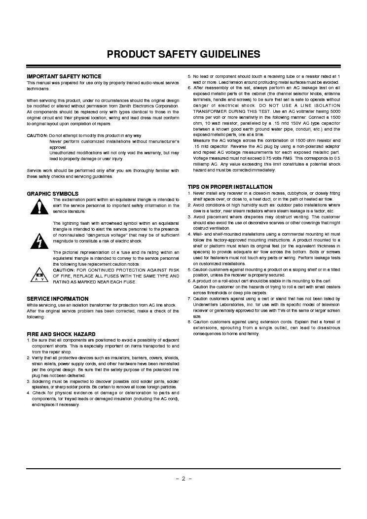 ZENITH P60W38 P60W38H CHASSIS RF-03LA SM Service Manual