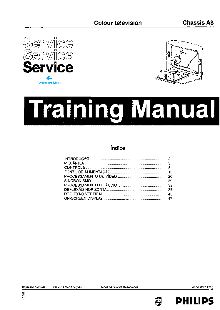 PHILIPS CHASSIS A8 TRAINING Service Manual download