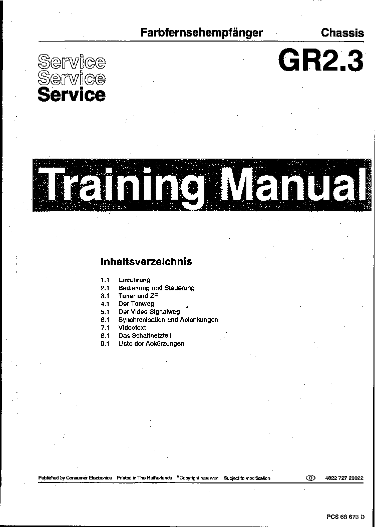 PHILIPS GR2.3 TRAINING MANUAL IN GERMAN 72720022 Service