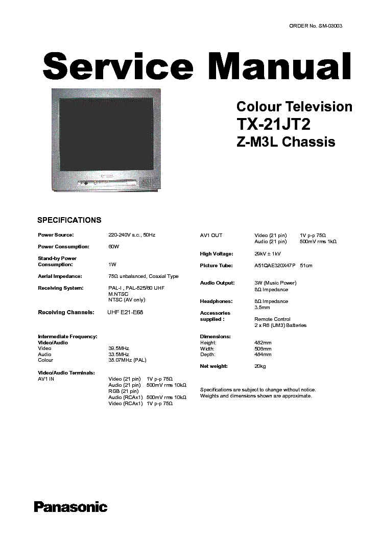 PANASONIC TX-21JT2 ZM3L SERVICE-MODE INFO Service Manual