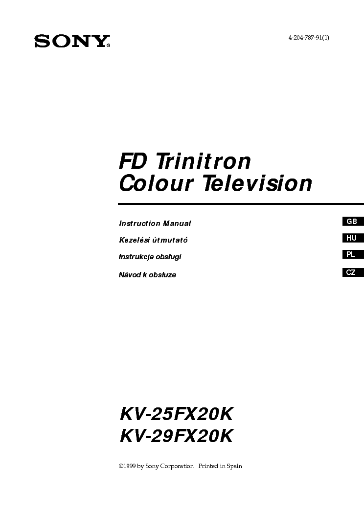 SONY KV-25-29FX20K FELHASZNALOI Service Manual download