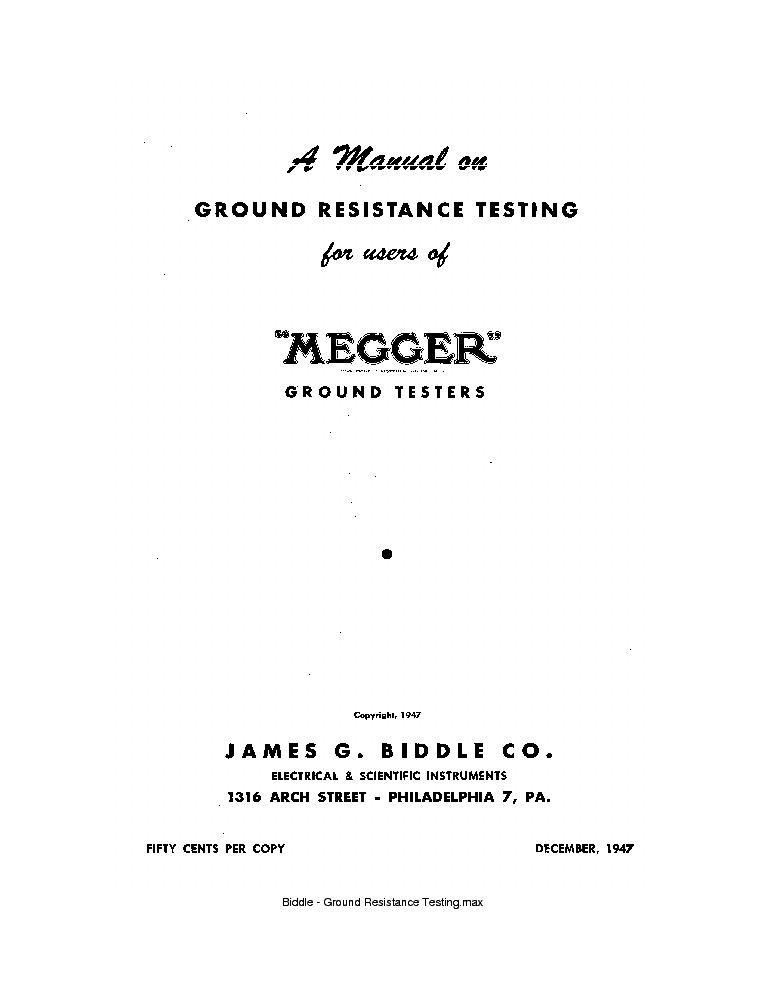 BIDDLE GROUND RESISTANCE TESTING MEGGER Service Manual