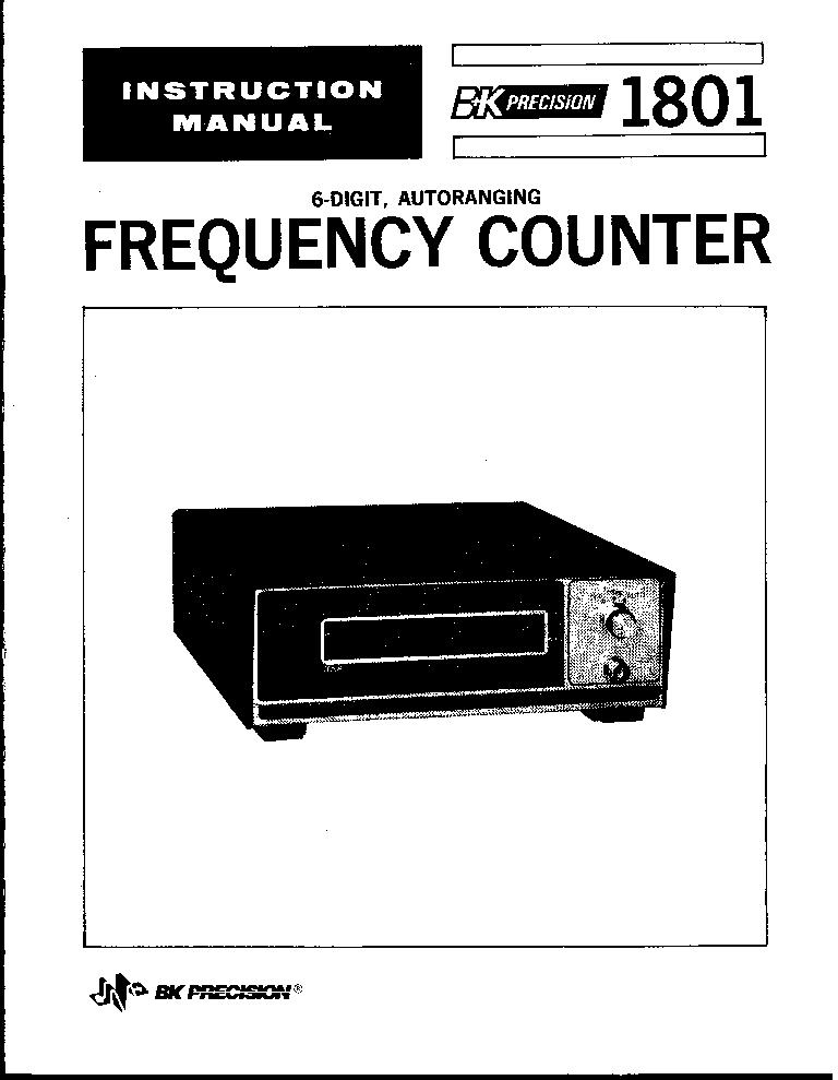 B-K 1801 40MHZ AUTORANGE COUNTER SM Service Manual