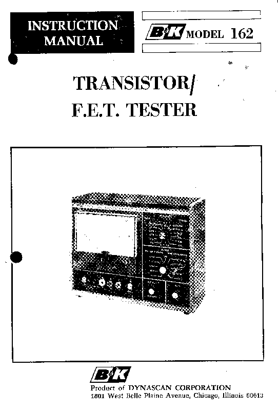 B AND K 162 TRANSISTOR-FET TESTER Service Manual download