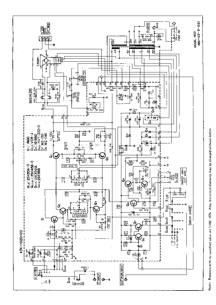 BK-PRECISION 1403 OSCILLOSCOPE SCHEMATIC Service Manual