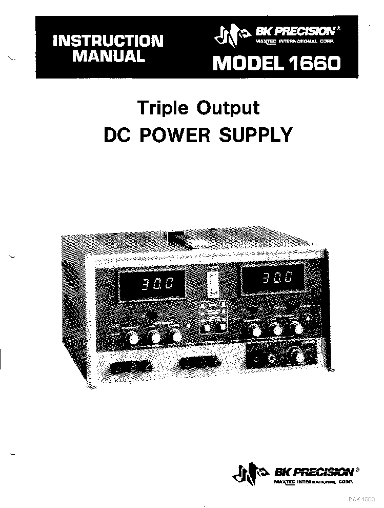 BK-PRECISION 1660 2X0-30V,2A 4-6,5V,5A TRIPLE OUTPUT POWER