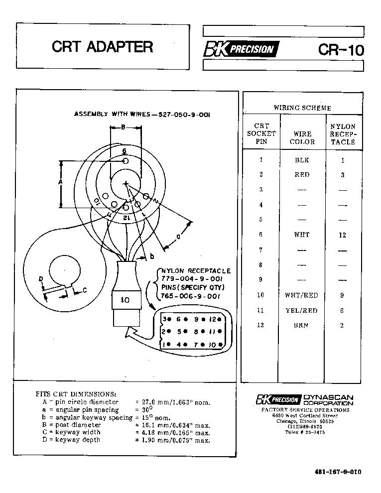BK-PRECISION CR-10 CRT TUBE-TESTER REJUVENATOR ADAPTER SM