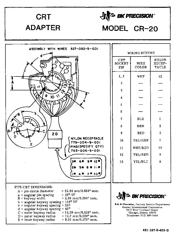 BK-PRECISION CR-20 CRT TUBE-TESTER REJUVENATOR ADAPTER SM