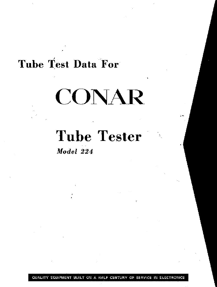 CONAR 224 TUBE TESTER TUBE DATA Service Manual download