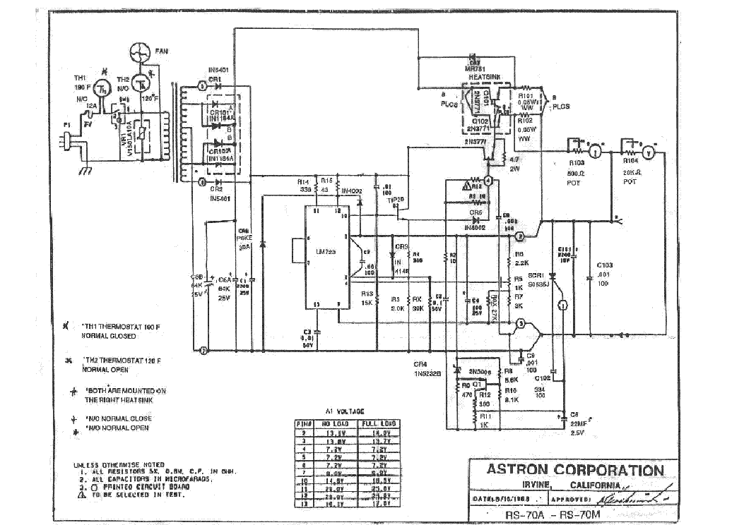 ASTRON RS-70A RS-70M SCH Service Manual free download