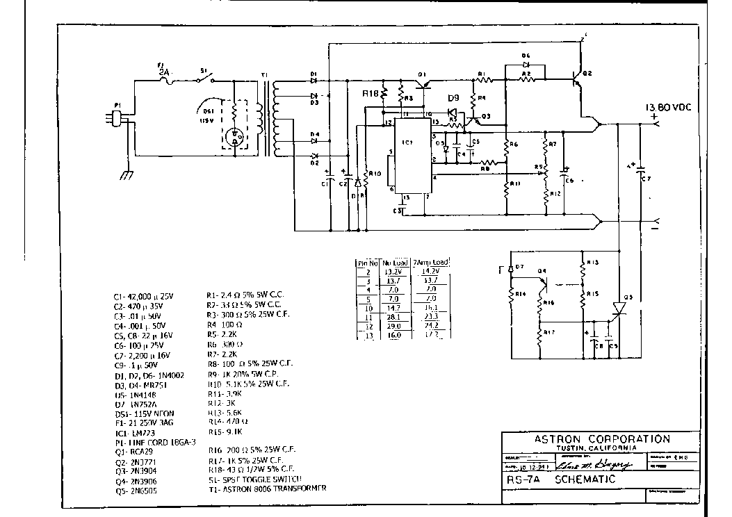 ASTRON RS-12A SCH Service Manual download, schematics