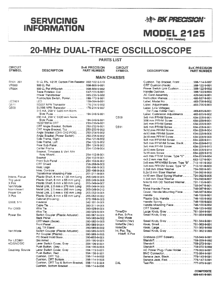 BK 2125 2X20MHZ OSCILLOSCOPE SM Service Manual download