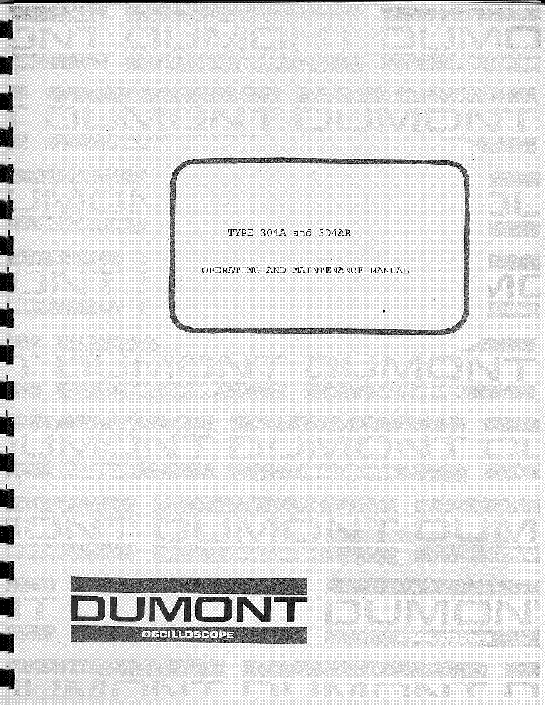 DUMONT 24XH OSCILLOSCOPE Service Manual download