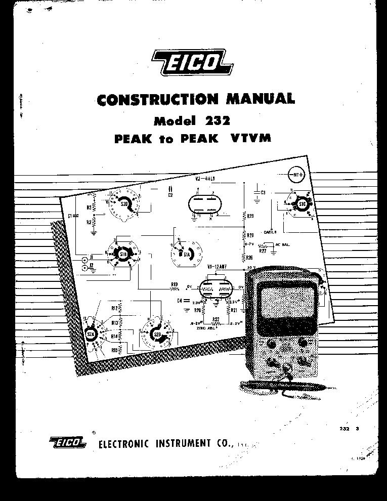 EICO 232 VTVM CONSTRUCTION KIEGESZITO-SM Service Manual