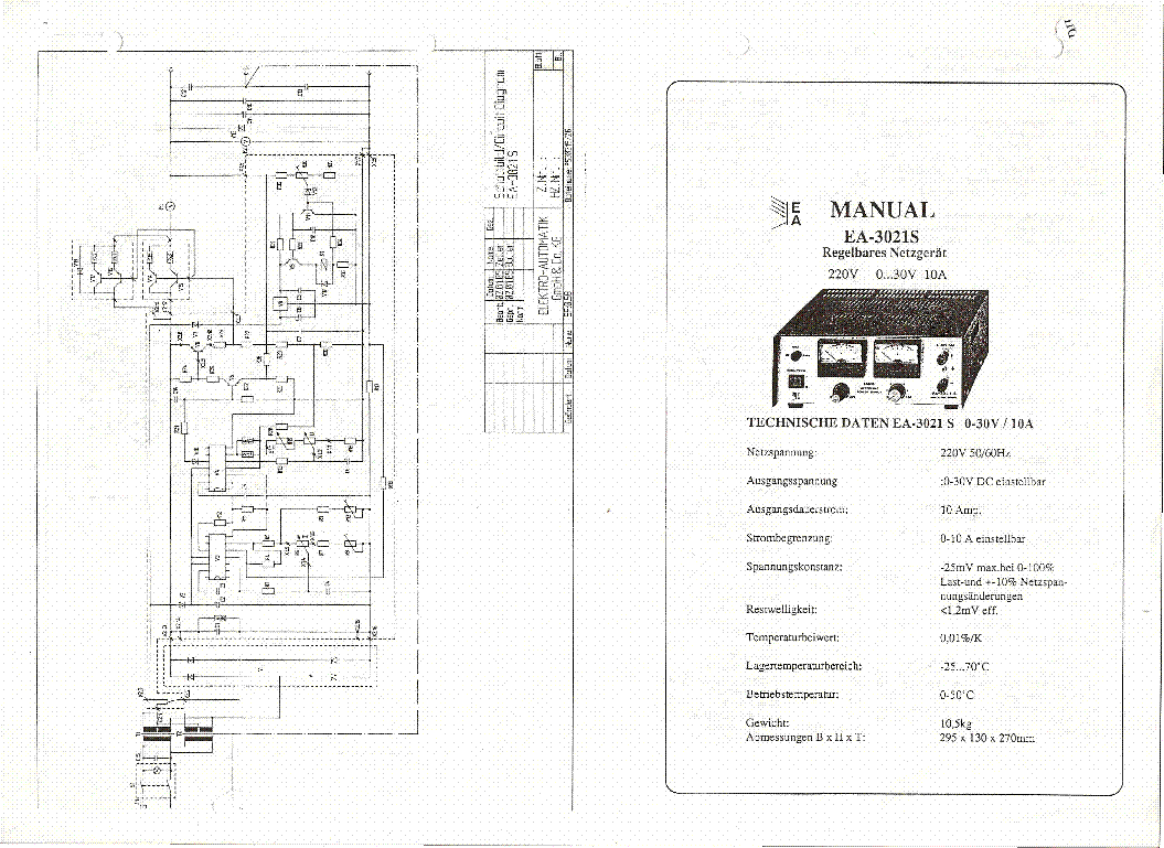 Elektro Automatik Ea S 0 30v 10a Bench Power Supply Sm Service Manual Download
