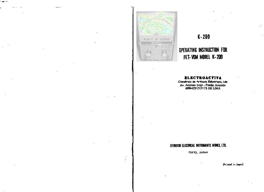 KYORITSU FET-VOM K-200 MULTIMETER Service Manual download