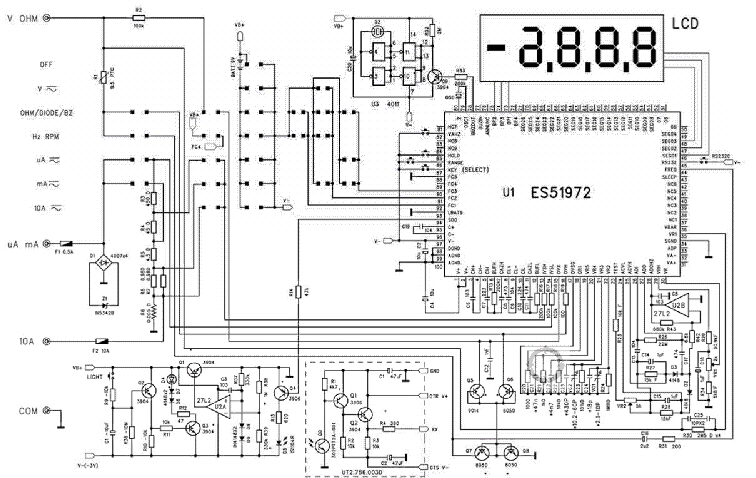 MULTIMETER UT60D SCH Service Manual download, schematics
