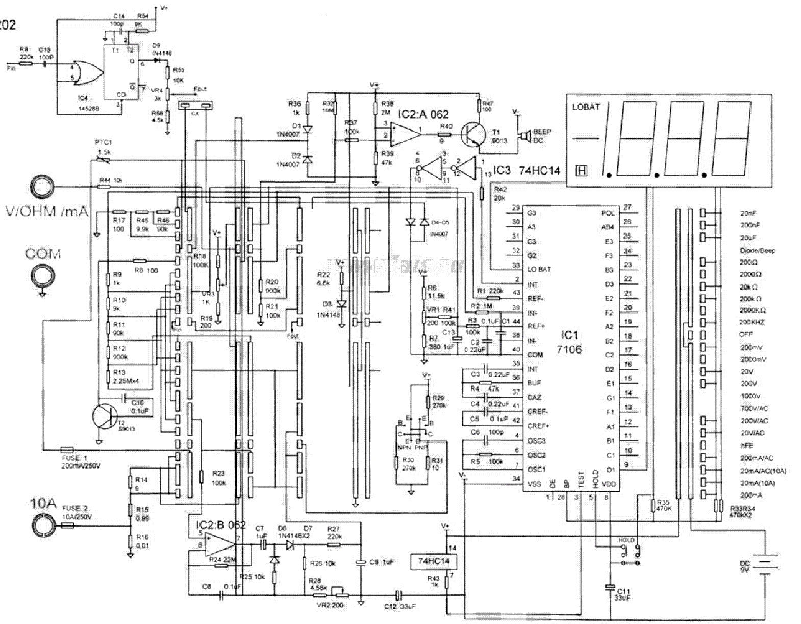 MULTIMETER UT203 SCH Service Manual download, schematics