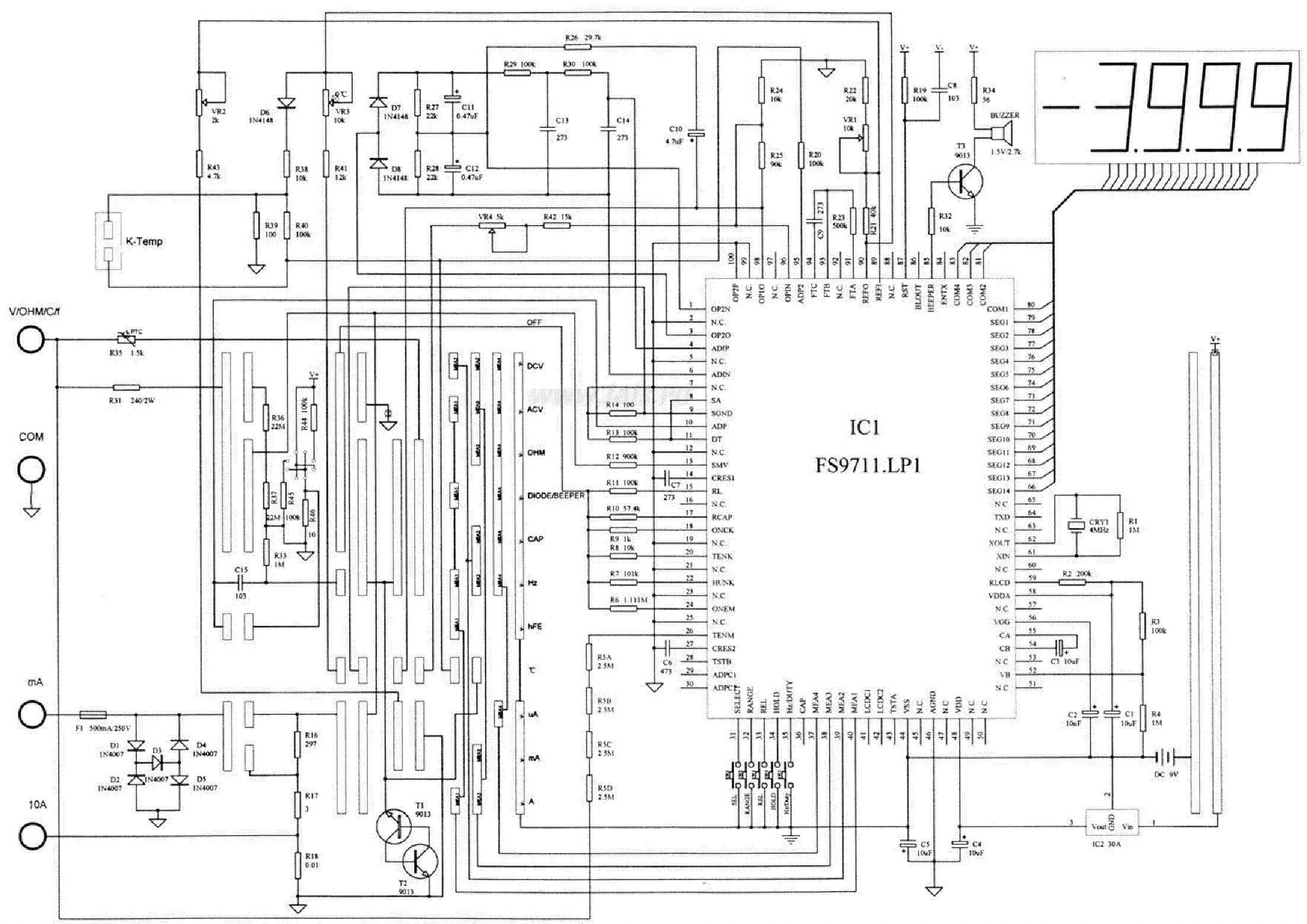 MULTIMETER VC97 SCH Service Manual download, schematics