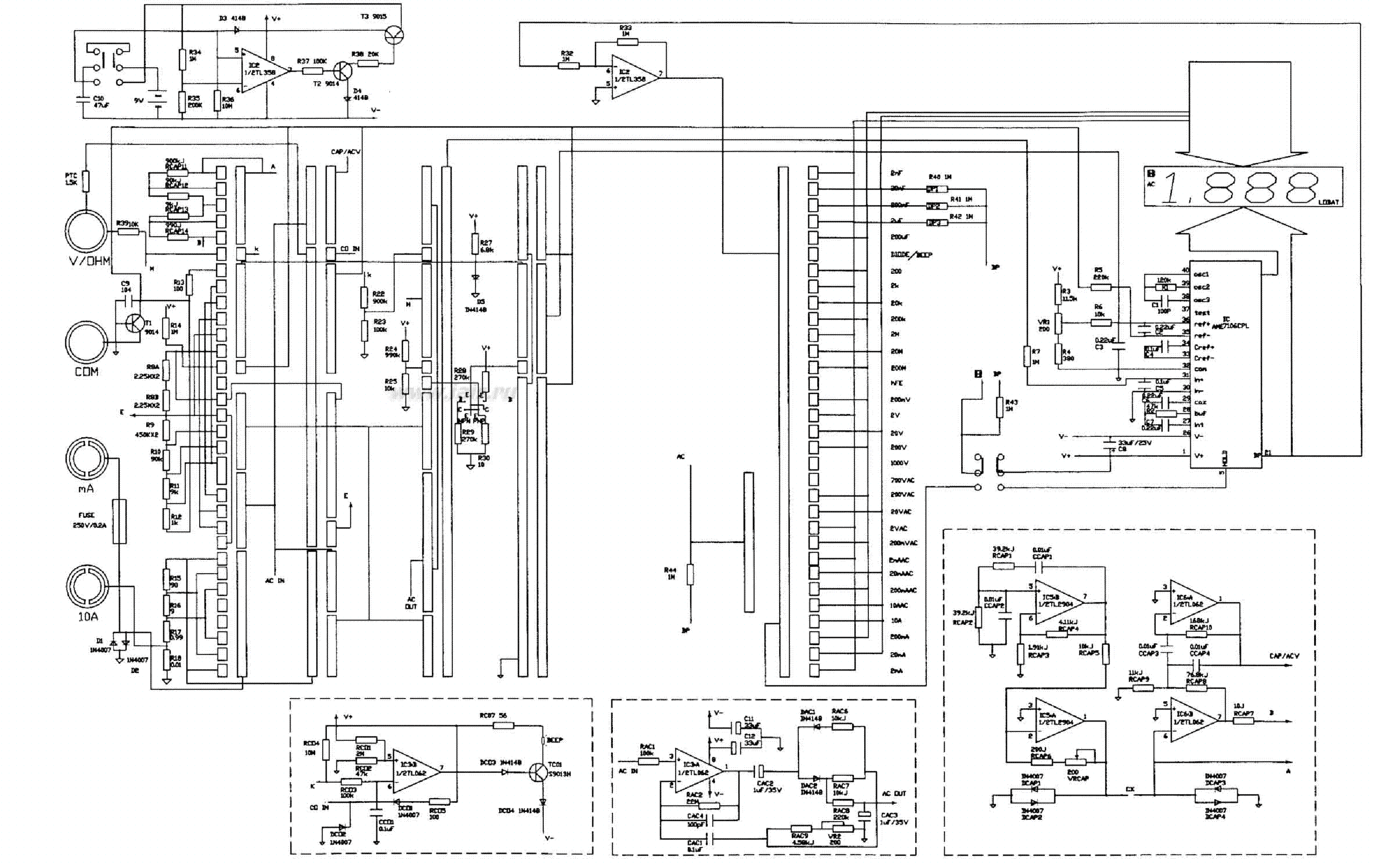 MULTIMETER VC9802A SCH Service Manual download, schematics