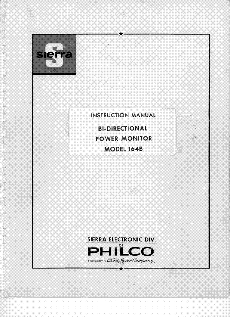 PHILCO-SIERRA 164B BI-DIRECTIONAL POWER METER Service