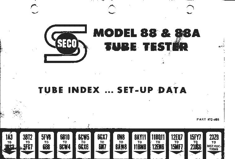 SECO MODEL 107 TUBE TESTER DATA CARD Service Manual