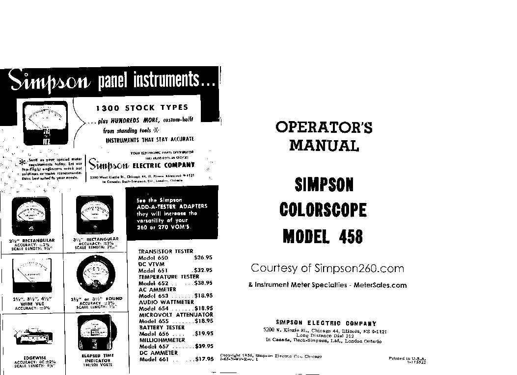 SIMPSON 260-7 7M ANALOG MULTIMETER SCH Service Manual