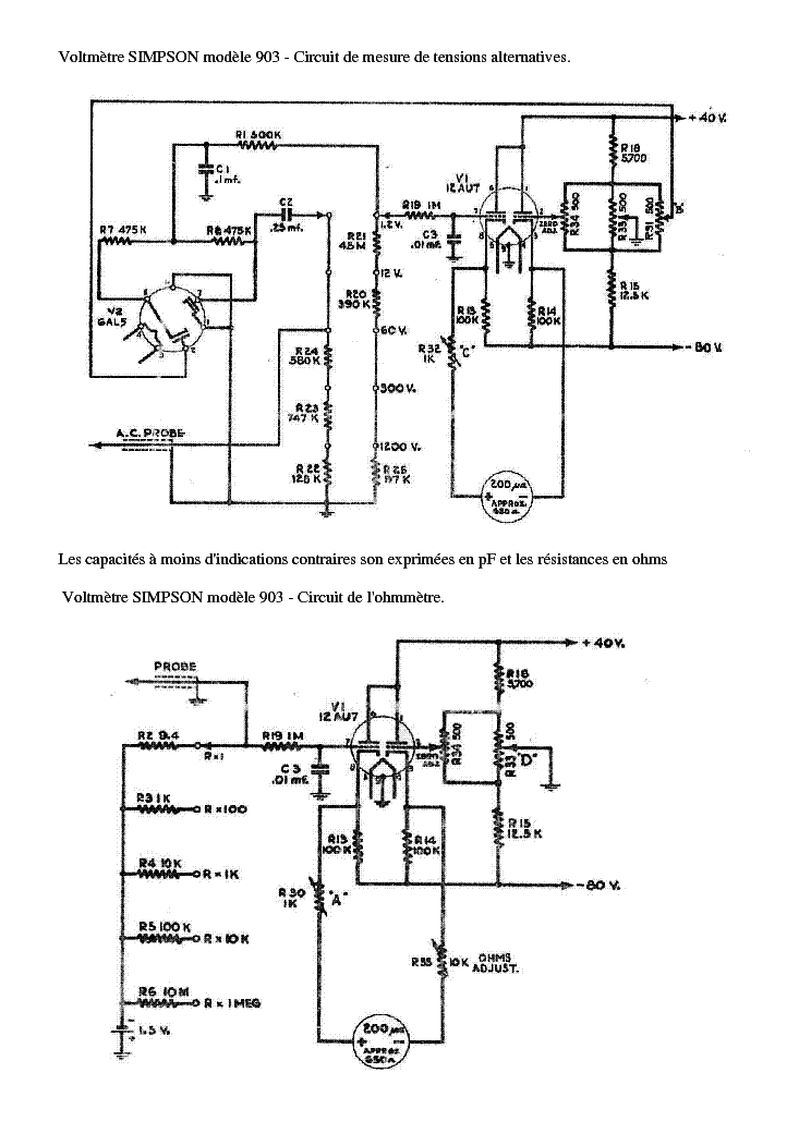 SIMPSON 903 VOLTMETRE-SCHEMA GENERAL SCH Service Manual