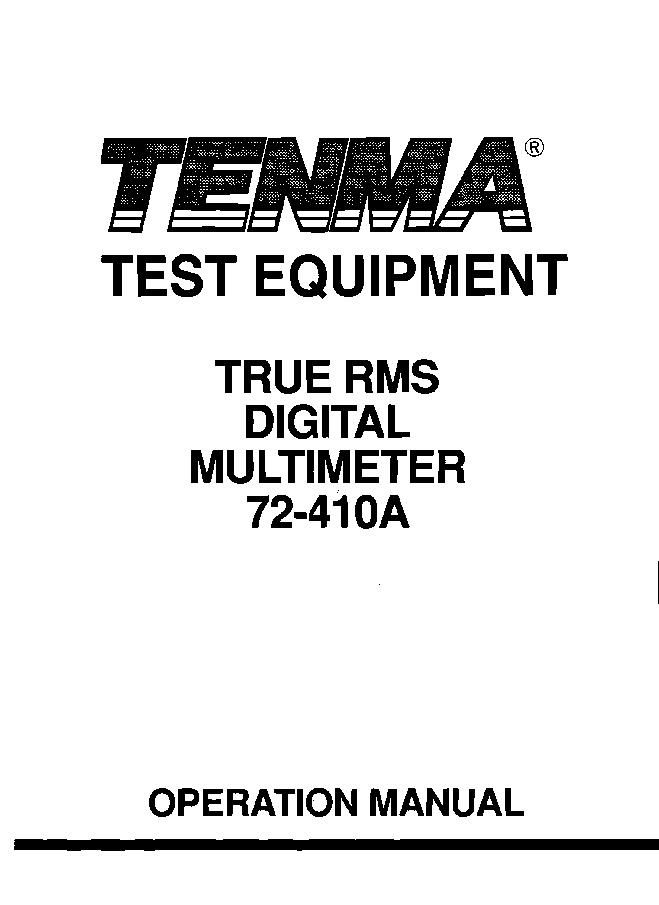 TENMA 72-410A DIGITAL MULTIMETER Service Manual download