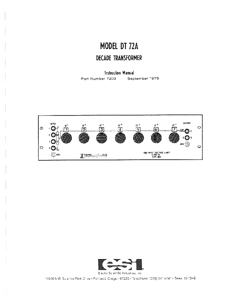 ESI 250DA IMPEDANCE BRIDGE 1960 SM Service Manual download
