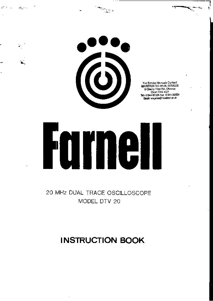 FARNELL DTV20 2X5MV,20MHZ 2X1MV,10MHZ OSCILLOSCOPE SM