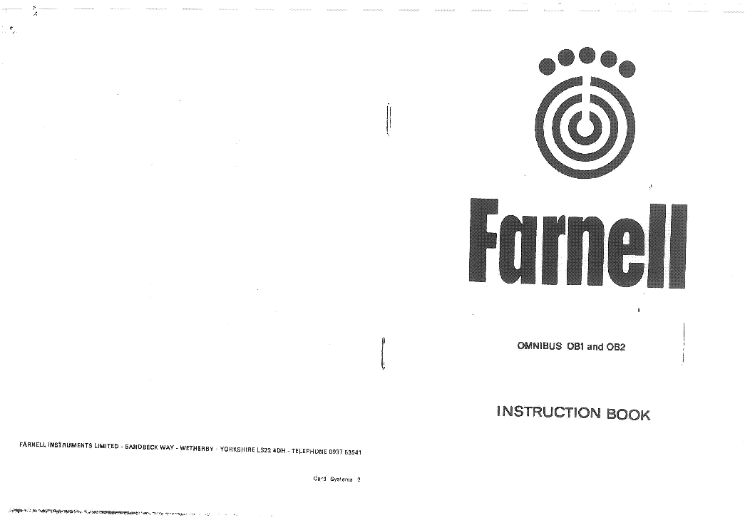 FARNELL H60-50 0-60V 50A POWER SUPPLY SCH Service Manual
