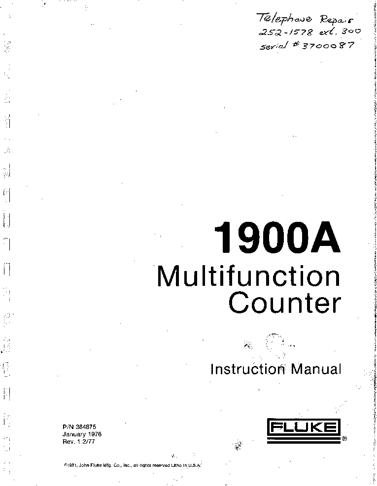 FLUKE PM5415 PM5418 SM Service Manual free download