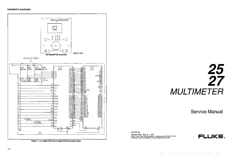 Parts & Accessories w/ schematics FLUKE 25 & 27 Multimeter