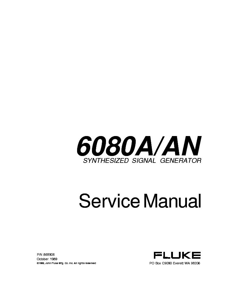 FLUKE 6080A-AN RF-SIGNAL SM Service Manual download