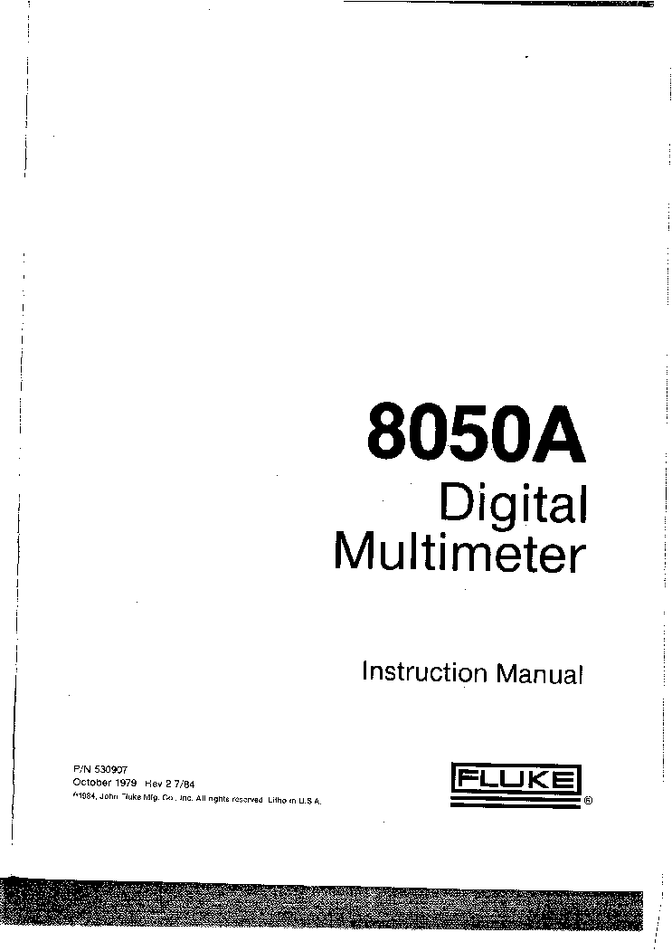 FLUKE 8050A INSTRUCTION-MANUAL Service Manual download