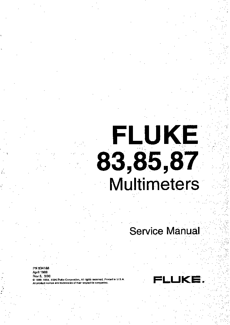 FLUKE 83 85 87 SM Service Manual download, schematics