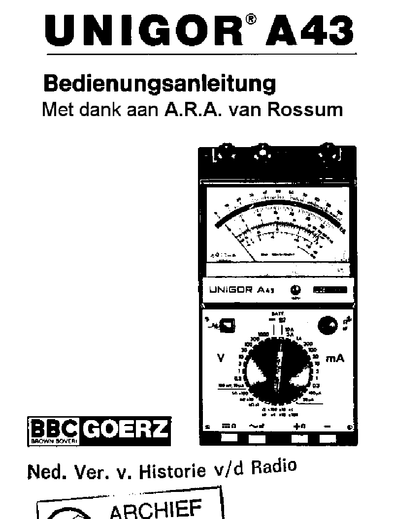GOERZ ELECTRO UNIGOR-3N ANALOG MM SM Service Manual