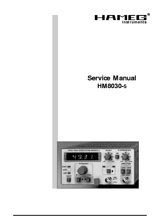 HAMEG HM8030-5 FUNCTIONGENERTOR PARTS LIST Service Manual