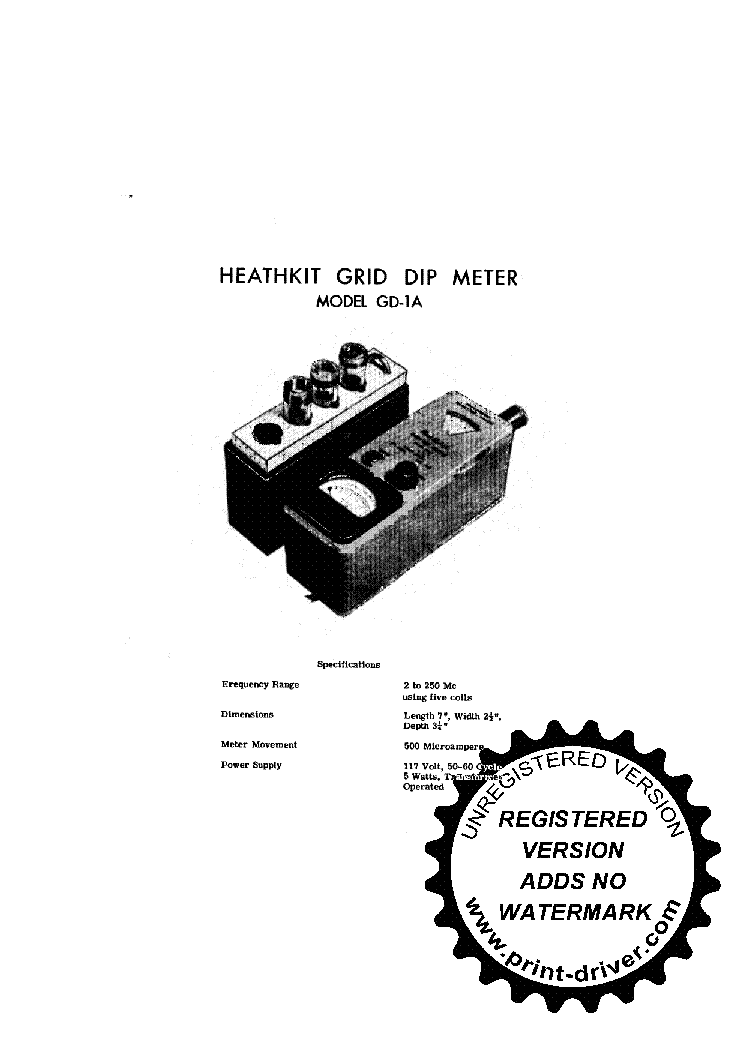 HEATHKIT GD-1-A 2..250MHZ GDO GRID DIP METER SM Service